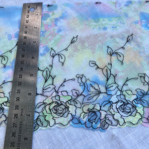 "Tulle Lace 104 - 7 1/4"" Green Printed Sparkle Embroidery"