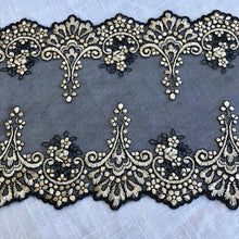 "Load image into Gallery viewer, Tulle Lace 101 - 6"" Black with Gold Embroidery"