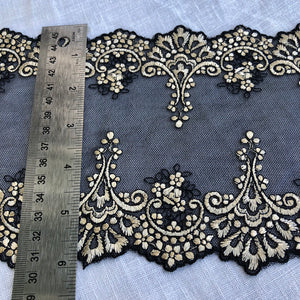 "Tulle Lace 101 - 6"" Black with Gold Embroidery"