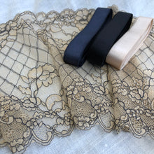 "Load image into Gallery viewer, Stretch Lace #250 - 8"" Warm Beige with Black Cording"