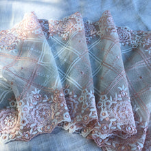 "Load image into Gallery viewer, Tulle Lace 106 - 8 1/4"" Peach and Cream Embroidered Tulle"