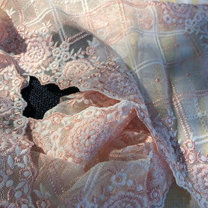 "Tulle Lace 106 - 8 1/4"" Peach and Cream Embroidered Tulle"