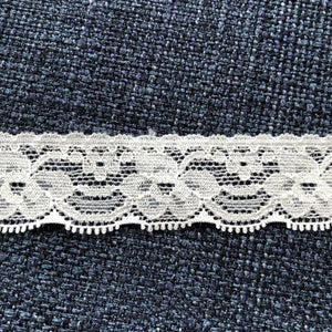 "Stretch Lace #121 - 1"" Natural White Dye to Match Lace"