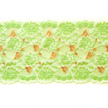 "Load image into Gallery viewer, Stretch Lace #134, 5 3/4"" Green and Peach"