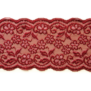 "Stretch Lace #139, 5 3/4"" Red with White"