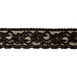 "1 1/2"" Black Stretch Lace #156"