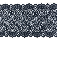 "Load image into Gallery viewer, 7 1/4"" Navy Scroll Stretch Lace #208"