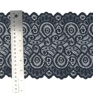 "7 1/4"" Navy Scroll Stretch Lace #208"