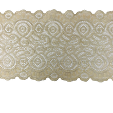 "Load image into Gallery viewer, 7 1/4"" Celery Scroll Stretch Lace #209"