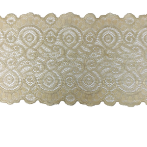 "Stretch Lace #209, 7 1/4"" Neutral Scroll lace"