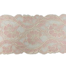 "Load image into Gallery viewer, 6 1/2"" Pink and Cream Stretch Lace # 211"