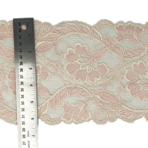 "6 1/2"" Pink and Cream Stretch Lace # 211"