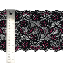 "Load image into Gallery viewer, Stretch Lace #219, 6"" Black with Fuchsia"