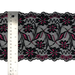 "Stretch Lace #219, 6"" Black with Fuchsia"