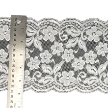 "Load image into Gallery viewer, 5 7/8"" White Floral Stretch Lace # 220"