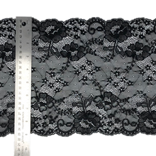"Load image into Gallery viewer, Stretch Lace #224, 9 3/8"" Black"