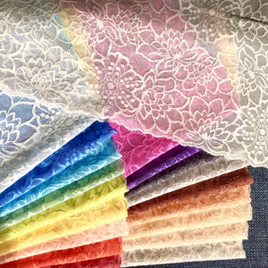 "Stretch Lace #253 - 8.5"" Contemporary Floral Dye to Match Lace"