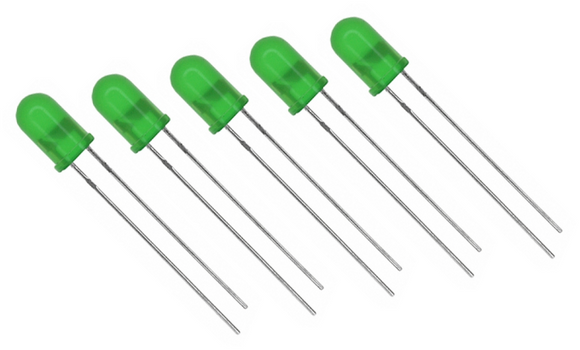 5x Green Led 5mm