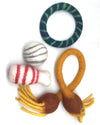 Combo Package of Four Wool Felted Dog Toys-Ball, Bone, Ring and Tug
