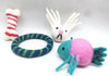Four Wool Felted Dog Toys-Bone, Ring, Fish and Animal Head Toys