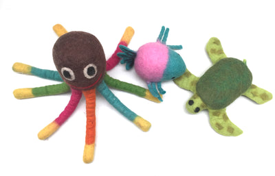 Four Wool Felted Dog Toys-Turtle, Octopus and Fish