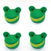 Four (4) Smiling Frog Head Felt Dog Toys