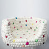 White Felt Ball Dog Bed