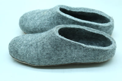 Classic Woolen Felted Slipper- Grey- Men and Women Shoes