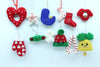 Gorgeous Christmas Hanging Ornaments in Wool- 12 pcs Ornaments Combo Packet for Xmas Tree Decoration