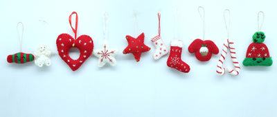 Christmas Red and White Wool Felt Hanging Ornaments- 10 pieces Combo Packet for Xmas Tree Decoration