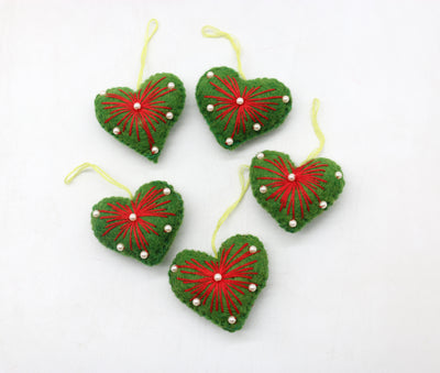 Beautiful Green Stitched Woolen Heart Handmade Christmas/Xmas tree Hanging Decoration Ornaments