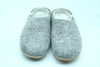 Classic Grey Woolen Felted Slipper with with button design- Men Slipper-Women Shoes