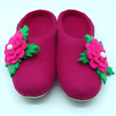 Beautiful Flower Women Shoes-Wool Felted Slipper-Warm, soft and unique Slipper