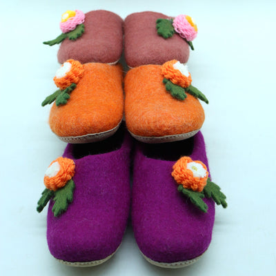 Flower Designed Woolen Slipper- Women Shoes
