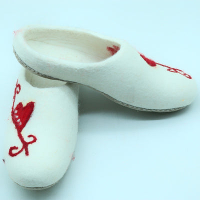 Gorgeous White Woolen Felted Slipper with red printed Heart- Women Shoes