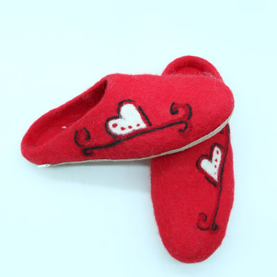 Beautiful Red Color Heart Printed Wool Felted Slipper- Women Shoes