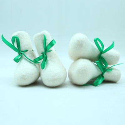 Baby Shoes-Wool Felted Slipper with Beautiful Stripe Designed-Specially Made for Baby with Ribbon