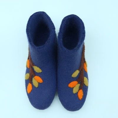 Flower Printed Woolen  Felted Slipper Boot- Women Shoes