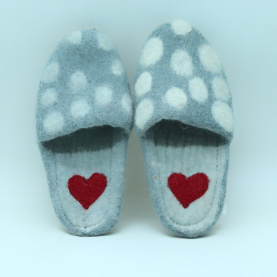 Woolen Felted Slipper- Women and Men Shoes- Dotted designed Heart printed