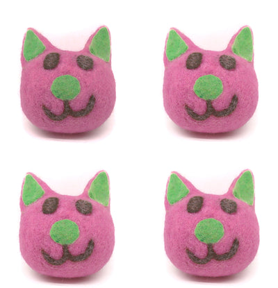 Four (4) Woolen Pink Kitty's Head Felt Dog Toys