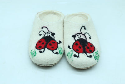 100% Wool Felted Slipper with beautiful Lady-bird design