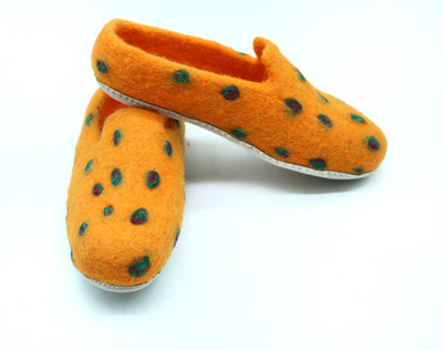 Wool Felted Slipper-Leopard Design-Men shoe and women shoe