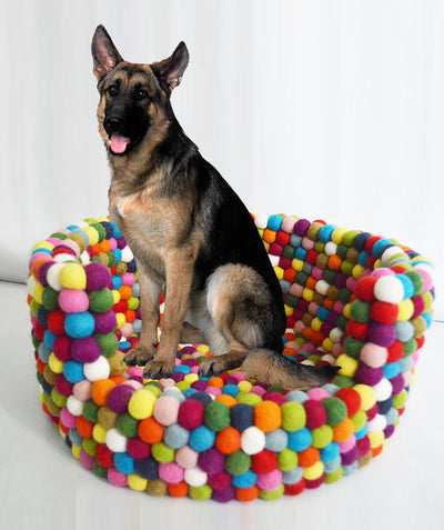 Beautiful Multicolor Felt Dog Bed- Warm and Soft