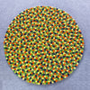 Glowing Yellow and Multicolored Round Felted Rug-100% Woolen Handmade Felted Ball Rug