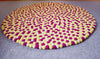Beautiful Yellow and Pink Round Felted Rug-100% Woolen Handmade Felted Ball Rug