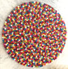 Round Felted Rug-100% Woolen Handmade Felted Ball Rug-Multicolors and Attractive Rug