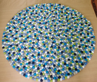 Blue Round Shaped 100% Woolen Handmade Felted Ball Rug-Multicolors and Attractive Felted Rug