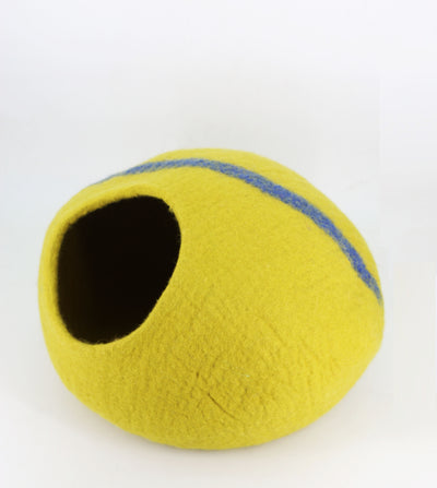 Beautiful Yellow with Blue Stripe Cat Bed-Cat Caves-Cat Furniture-Handmade Cat Bed