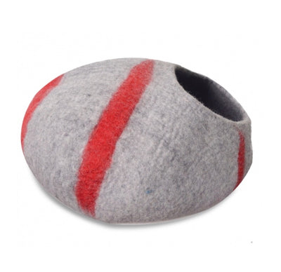 Red Strips Felt Cat Cave