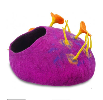 Violet Jungle Mushroom Felt Cat Cave